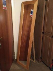 Full length free standing oak colour mirror
