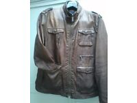 """ZARA"" MENS DESIGNER THORN COLOURED SUPER SOFT LEATHER JACKET SIZE: XL/42"" CHEST / VGC / COST £115"