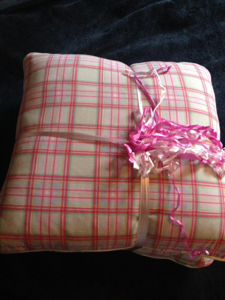 Two new pink tartan cushion