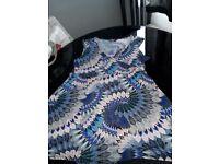 Ladies blue multi colour tunic size 20