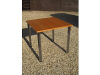 80 cm Square Oak Table with removable chrome legs, seats 4, ideal dining table, priced to sell.