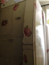 Vintage chest of drawers with mirror set with painted roses