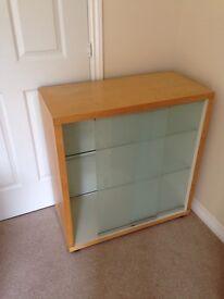 Wooden Glass cabinet, Beech effect