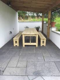 9 foot handmade garden table and benches