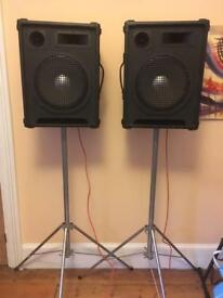 250w PA speakers and stands