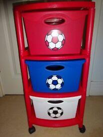 Next Boys portable storage draws football theme ideal for toy storage toy box
