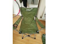 Collapsable camping chair with drink holder - khaki green colour