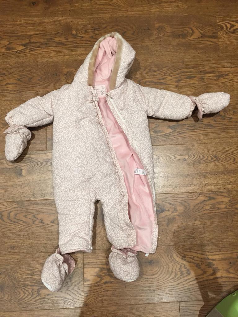 Pink, animal print snow suit 12-18months