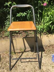 CLEARANCE Foldable high stool. Solid wood + grey metal. Useful extra for the kitchen or the garage