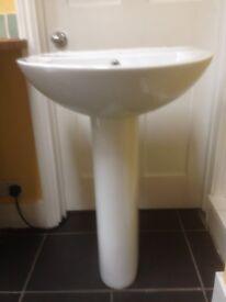 wash basin and pedestal
