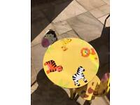 Children's wooden table and 2x chairs