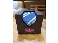Jeff Banks Luxury Silk Tie and Tie Clip