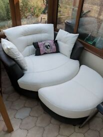 White & Dark Leather Circle Swivel Chair with Half Moon Seat (Collection only)