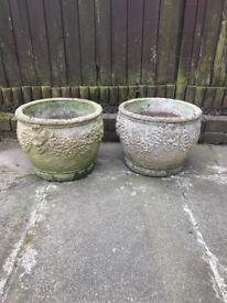 Two beautiful stone pots.