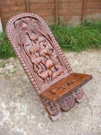 Antique Vintage Hand Carved Animals Wooden African Birthing Folding Chair Seat