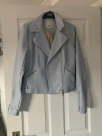 River island baby blue leather jacket