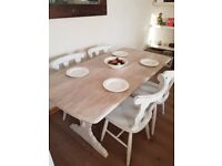 Vintage Ercol refectory dining table & 4 chairs. Rustic farmhouse/white shabby chic. LOCAL DELIVERY.
