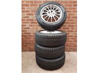 """WINTER TYRES Avon ICE ST touring 225/55 R17 x 4. Fitted on Nissan 17"""" Sports Alloy Wheels. Exc cond."""