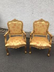 2 Gold Framed Floral Throne Chairs