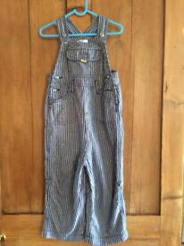 Baby Boden Boys Blue Ticking Striped Light Dungarees. 2-3 EUC