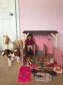 Our Generation stables horses and doll