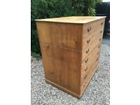 HUGE Solid Pine Plan chest Map architects artists drawers antique haberdashery