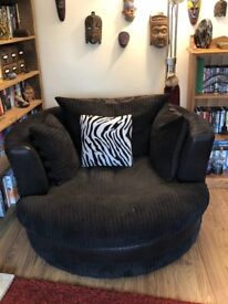 Sofa and swivel 'cuddle' chair