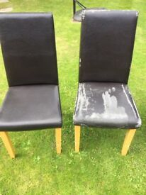 Set of 6 worn faux leather chairs
