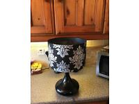 Black table lamp and shade