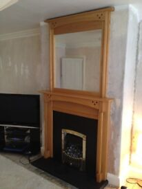 Oak Fire Surround and Matching Mirror