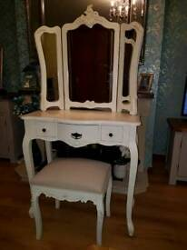 Vintage shabby chic dresser, 3 way mirror and stool £250 ONO