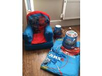 Lightning McQueen curtains, lamp shade, bedside lamp and curtains and inflatable chair
