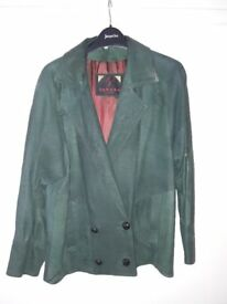 Beautiful soft leather jacket made by Sardar of London, green, medium