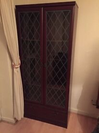 2 door glass showcase wardrobe great condition with draws