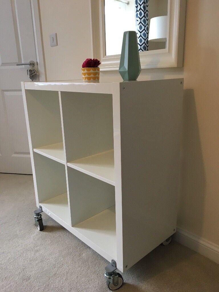 Ikea Kallax Mobile Shelving Unit White Gloss Finish Like New
