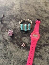 Regal Rose Amethyst Ring, Casio Watch, Necklace & Silver Beaded Bracelet - £5 each or £10 for four