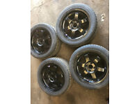 """4x100 15"""" rota grids alloys with tyres black"""