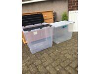 Plastic storage containers x 2