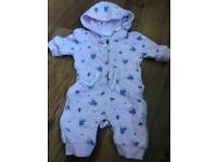 Girls floral hooded jumpsuit upto 1 month
