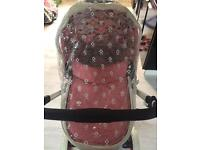 Cosatto ooba pink leather travel system pram