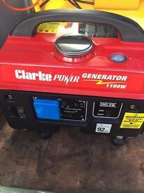 As New Clarke 1100w 4stroke Petrol portable generator very quiet,caravan campervan camping
