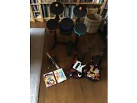 Band Hero/ Guitar World Tour for Wii including drums and 2 guitars