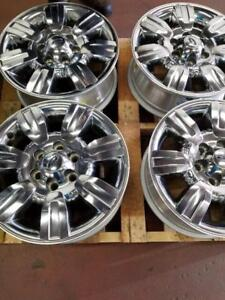 LIKE NEW FORD F150  FACTORY OEM 18 INCH CHROME CLAD ALLOY WHEEL SET OF FOUR WITH SENSORS