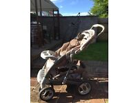 Beige and brown GRACO push chair and car seat