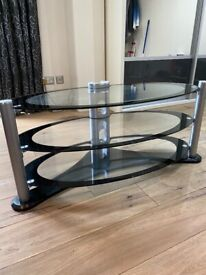 Oval TV / Hi Fi Stand Clear / Black Glass Modern VGC