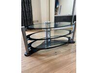Oval TV / Hi Fi Stand Clear / Black Glass Modern VGC