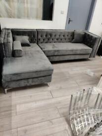FASTEST DELIVERY-Florence sofa-plush velvet left/right hand corner sofa-in grey color
