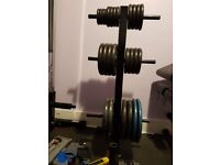 106kg Cast Iron Weights, Weight Plate Tree, Barbell, EZ Bar, Dumbbells + more