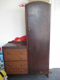 1950`s wardrobe with attached chest of draws ...make a great shabbychic project