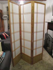 2 x Akio Room Divider Screens with 3 Panels each - Natural Timber frame with Washi paper panels